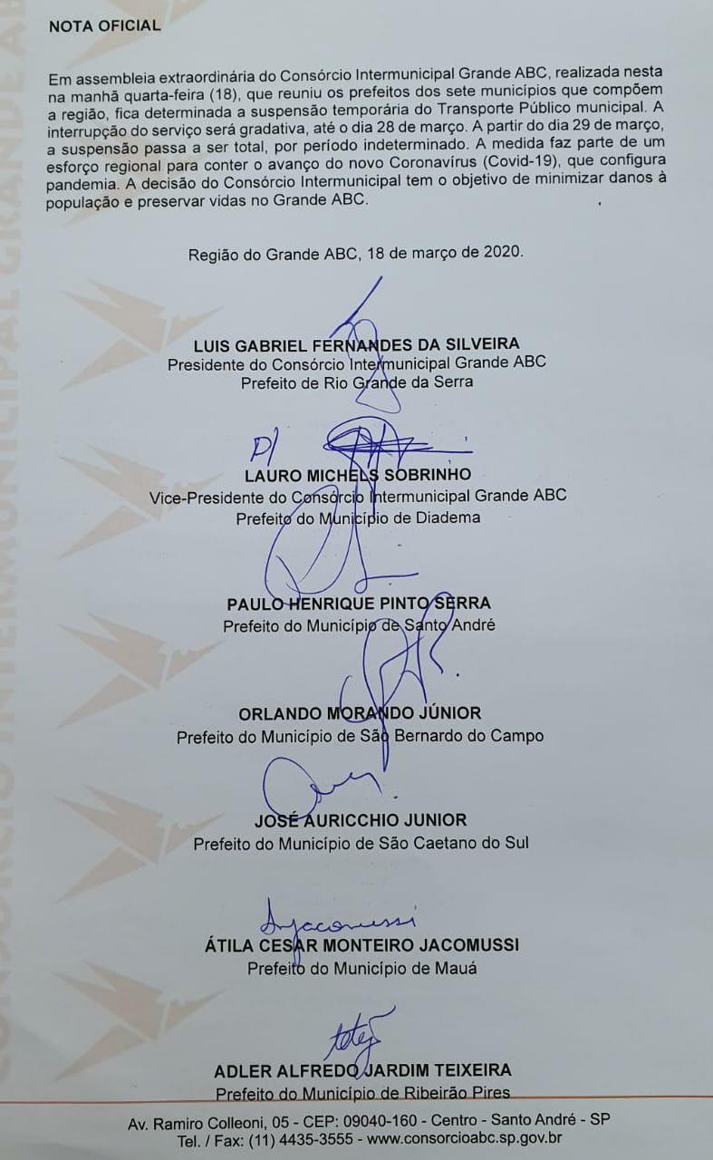 PREFEITOS DO ABC ANUNCIAM PARALISAÇÃO DE ÔNIBUS A PARTIR DO DIA 29